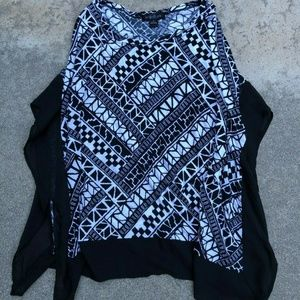 August Silk Oversized Pattern Poncho Top Sweater M